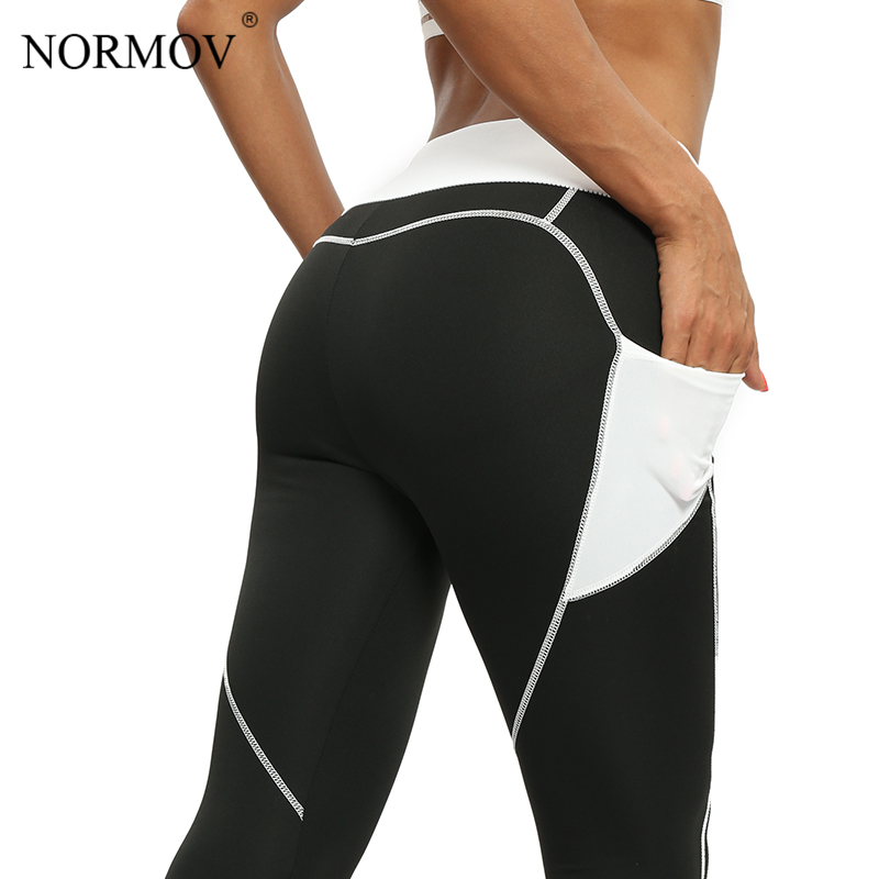 NORMOV Pocket High Waist   Leggings   Women Workout Summer Heart Push Up   Leggings   Fitness Clothing Female Gothics Breathable Pants