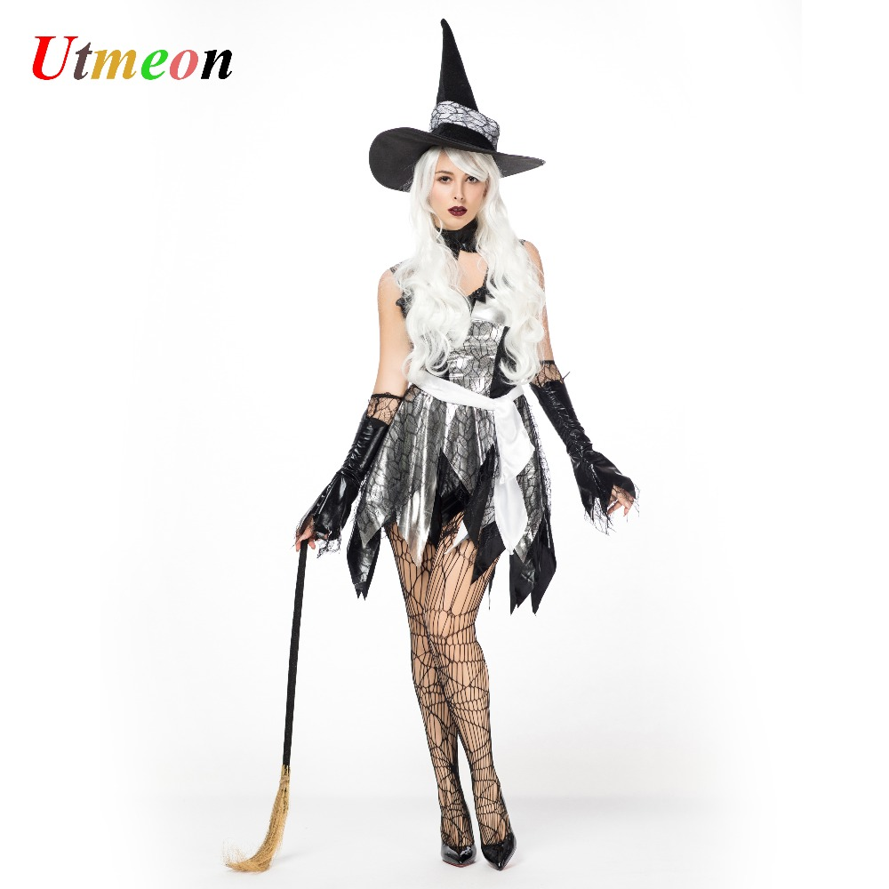 UTMEON Sexy Halloween Witch Costume For Women Carnival Party Costume Witch  Dress With Black Witch Hat