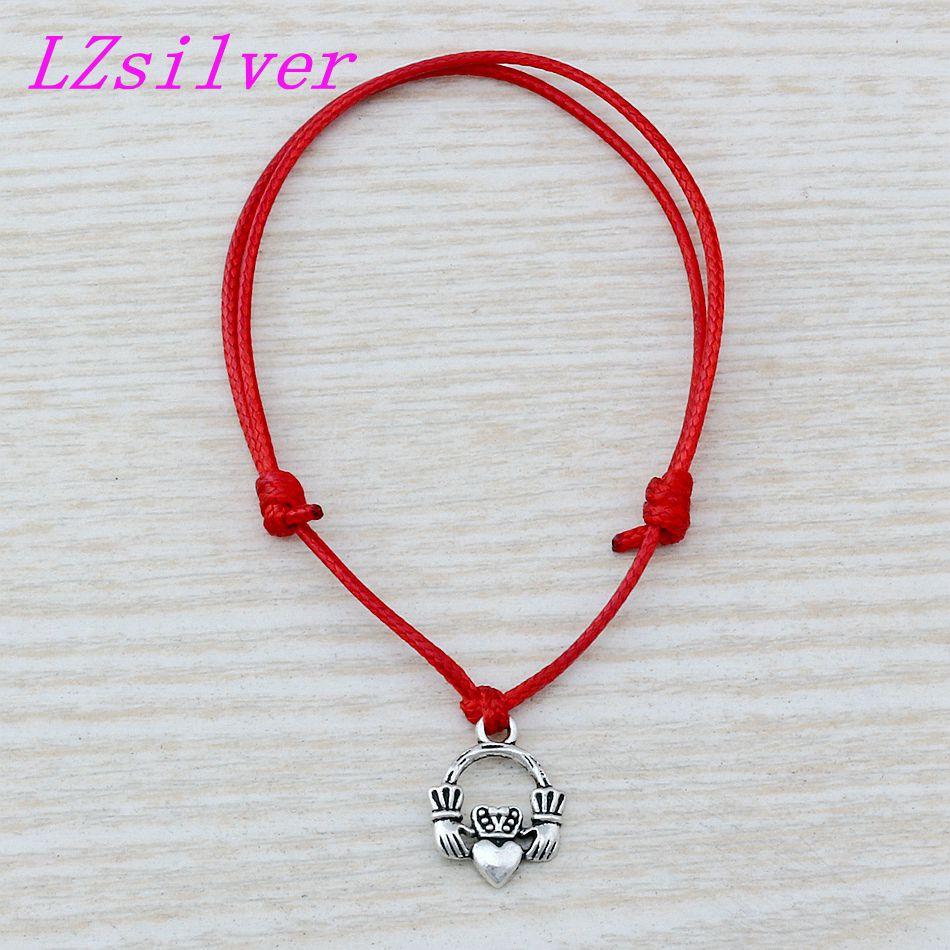 20Pcs Adjustable Bracelets Red Waxes rope Antique silver Alloy Claddagh Heart Loyalty Friendship Charm Adjustable Bracelet