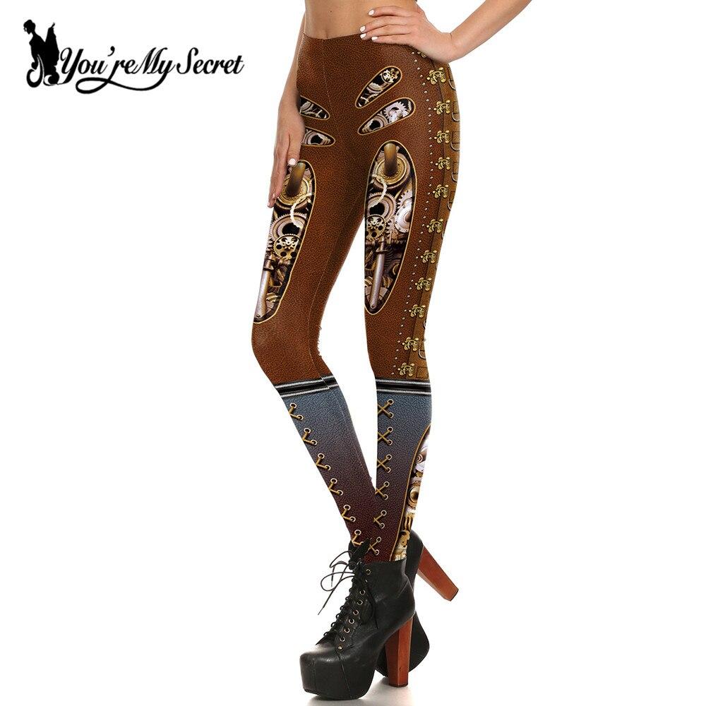 [You're My Secret] Retro Gothic Style Gear Steampunk Leggings Women Punk Leggings Workout Slim Fitness Legins Pants Wholesalers