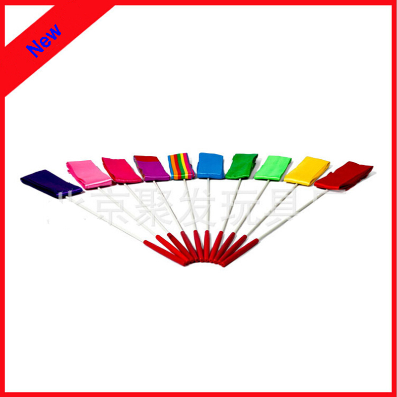 New 2016 Professional gymnastics Sticker Ribbons colorful long Stage Show Props Ribbons belly dance accessories 10pcs/Lot