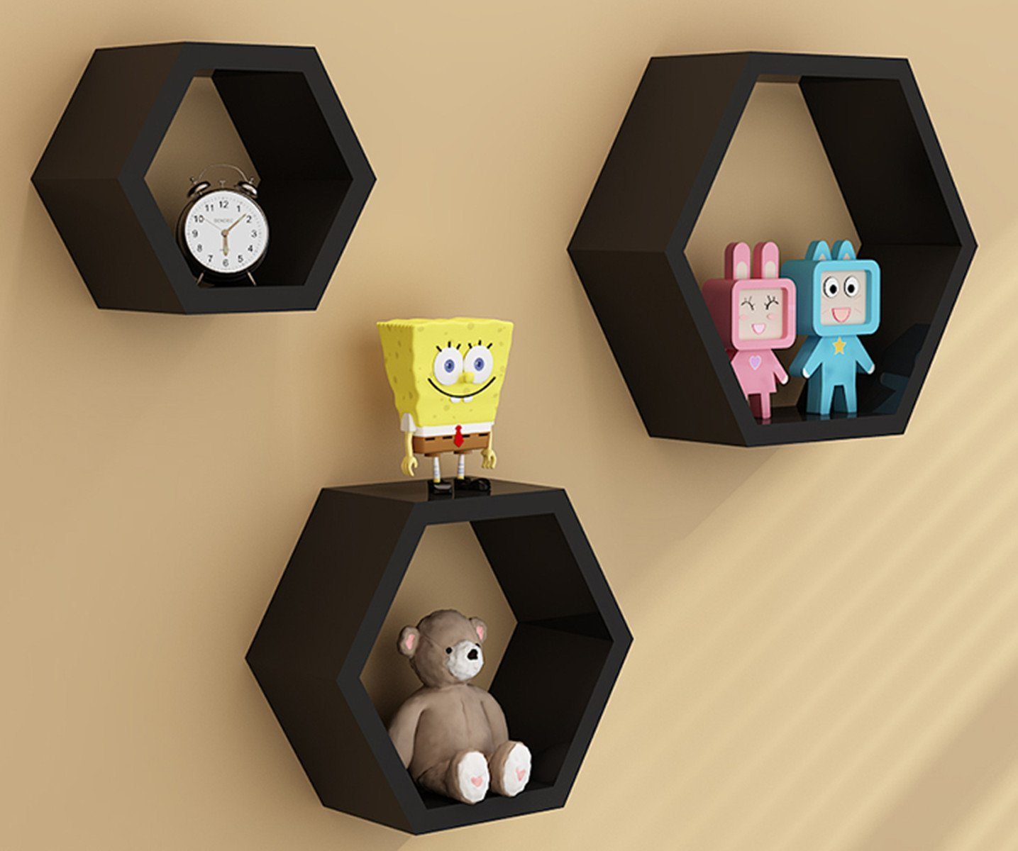 Home DIY Decorative Wall Floating Honeycomb Shelves Hexagonal ...
