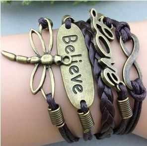 3pcs  Bracelet-infinity bracelet,owl ,love karma dragonfly bracelet,braid leather bracelet