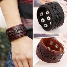 лучшая цена Rock Punk Wide Leather Mens Wrist band Strap Bracelet  Handmade Brown Black Color Fashion Jewelry