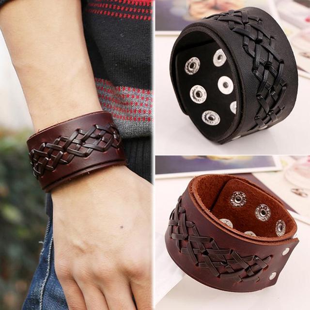Rock Punk Wide Leather Mens Wrist Band Strap Bracelet Handmade Brown Black Color Fashion Jewelry