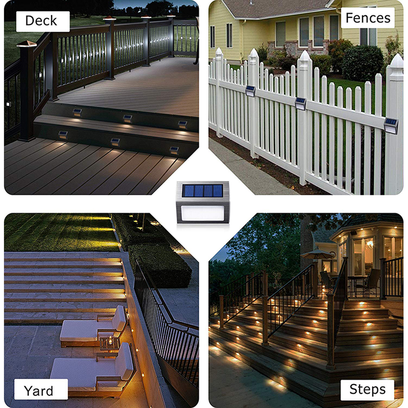 Solar Light 3 Leds Lamp Wall Light Waterproof Stairs Lights Outdoor Lighting For Garden Deck Steps Fences Landscape Wall Lamp in Outdoor Wall Lamps from Lights Lighting
