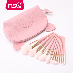 Image 3 - MSQ 12pcs MakeUp Brushes Set Powder Blush Eyeshadow pincel maquiagem Make up Brush Kits Cosmetic Tools With Pink PU Leather  Bag