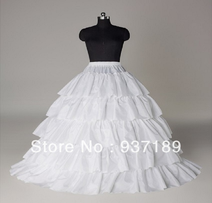 Free Shipping Hot Sale Cheap White Ball Gown 4-Hoop 5-Layer Wedding Petticoat Slip Underskirt Crinoline For Wedding Dresses