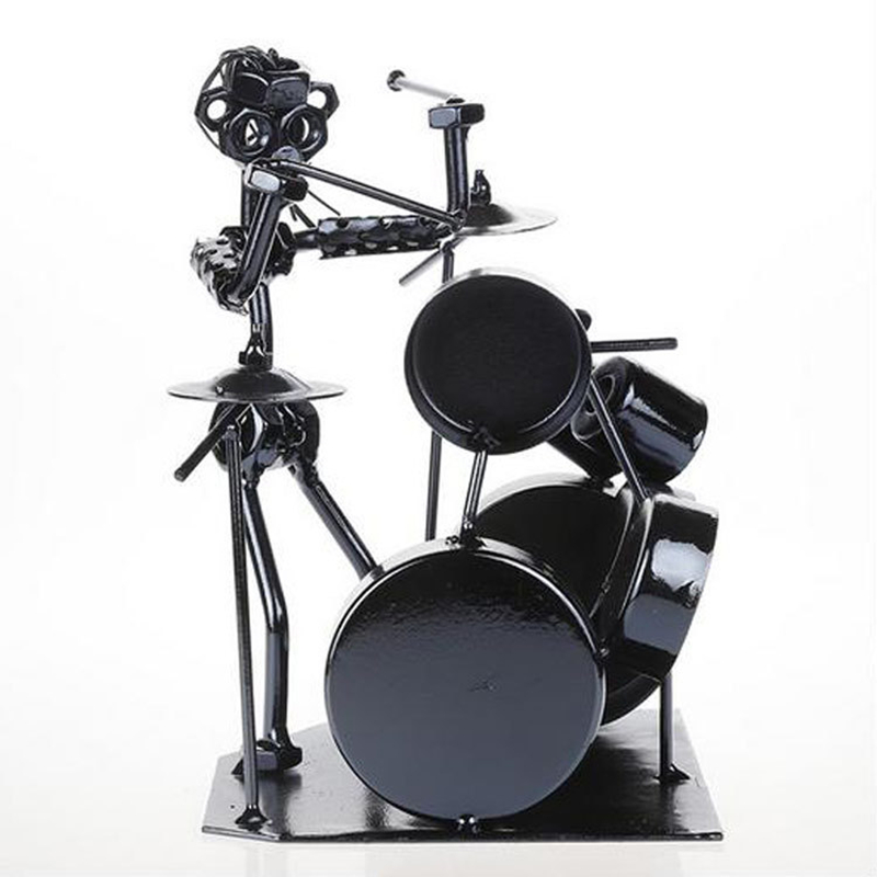 VILEAD 7 5 39 39 Iron Drum Player Figurine Vintage Home Decor Musician Miniatures Music Player Model Crafts for Office Home Decor in Figurines amp Miniatures from Home amp Garden