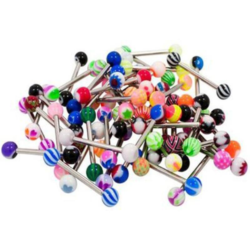 30//60//80//100pc Mix Color Ball Tongue Bar Ring Barbell Stud Body Jewelry Piercing