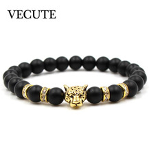 Natural Stone Black Beads Leopard Strand Bracelet Men Jewelry Animal Bangles Homme Femme Chain Ethnic Handmade bracelets kralen