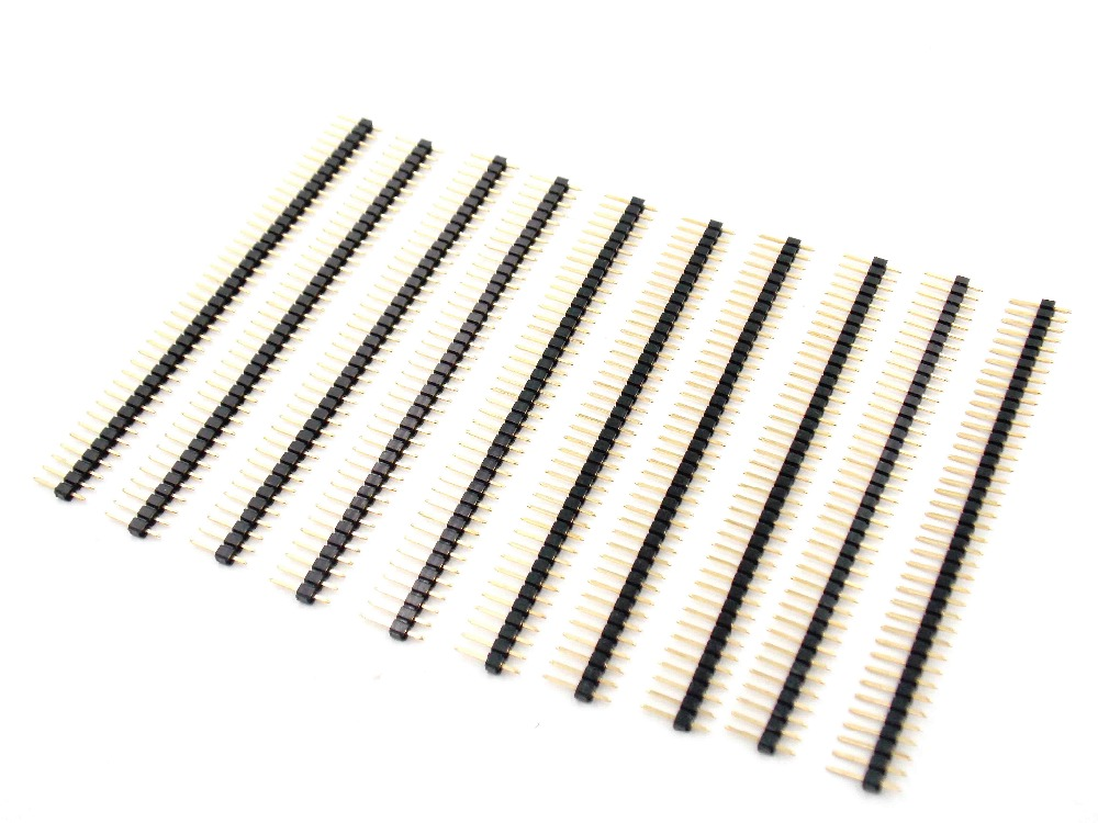 10PCS/LOT GOLD 40 Pin 1x40 Single Row Male 2.54 Breakable Pin Header Connector Strip