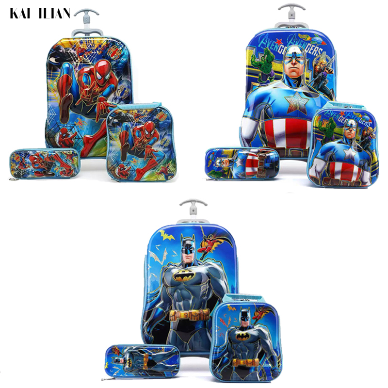 3D Cartoon Suitcase 3PCS Kids Luggage Set Trolley Bag Children's Travel Rolling Luggage Child Pencil Box For Boys Girls Suitcase