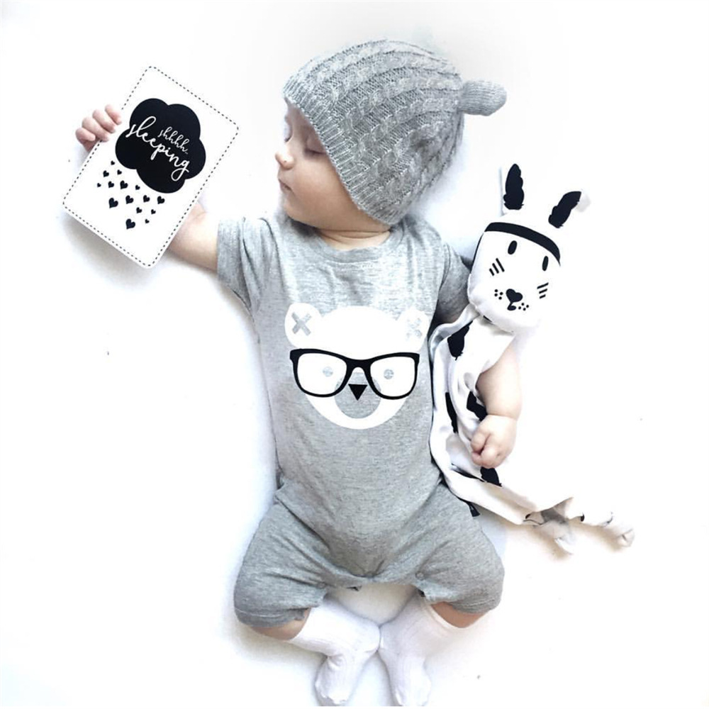 2017 Funny Baby Clothes Ruffle Sleeveless Bear Print Tiny Cottons Romper Jumpsuits +Hat 2Pcs Kids Clothing Set Baby Onesie 0-24M funny baby funny baby twin 2