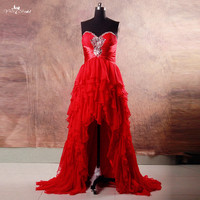 RSE744 Czerwona Sukienka Krótki Przód Długi Powrót Wysoki Niski Sukienka