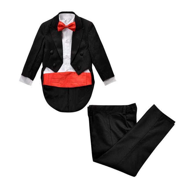 Пять Штук Мальчиков костюмы для свадеб Детей Выпускного Вечера Смокинг Черный Свадебные Костюмы для Мальчиков смокинг Дети Формальный Набор Одежды