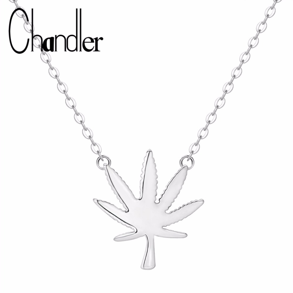 Chandler Silver Maple Leaf Pendant <font><b>Necklace</b></font> <font><b>Cannabiss</b></font> Small Weed Herb Charm <font><b>Necklace</b></font> Hip Hop Jewelry Wholesale Drop Shipping image