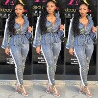 VAZN Autumn Elegant 2018 New Age Reduction Popular Women 2 Piece Set Solid Full Sleeve Full Length Lady Slim Set LSD8218