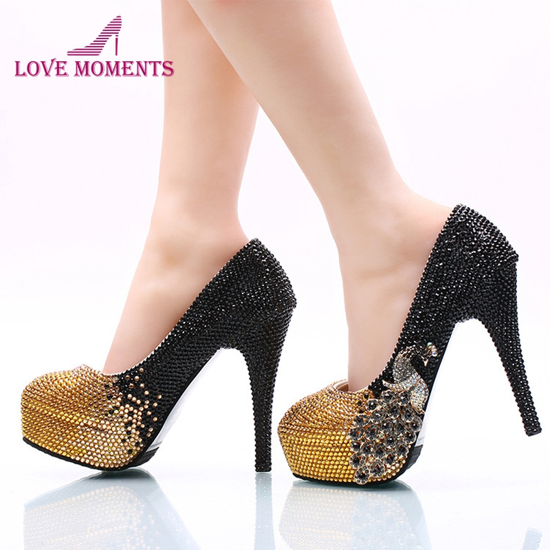 Black and Gold Rhinestone Bride Shoes 2018 Newest Style Christmas Prom Party High Heel Shoes Wedding Party Pumps Banquet Shoes