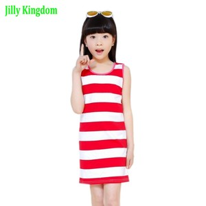 2019 Children Girls' Summer Dress Black & White Stripes Girls Cotton Dress Kids T-shirt Dress for Teen Girls Vest Dress Vestido