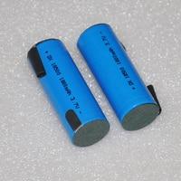 2 4 pièces UNITEK 3.7 V 18500 batterie 1800 mah rechargeable li ion lithium ion cellule avec onglets de soudage broches pour torche LED lampe de poche celle li-ion rechargeable battery lithium ion battery -