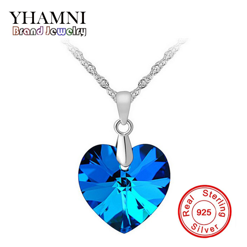 Brand Classic Heart of Ocean Necklace Women 925 Sterling Silver Jewelry Heart SWA Crystal Pendant Necklace For Women BKXL001
