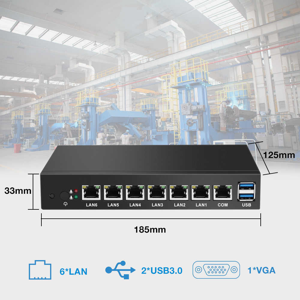 6 * LAN Gigabit Ethernet Mini PC Celeron 1037U 1.80GHz Thin Client Router Pfsense Windows Linux Industri Komputer Mini