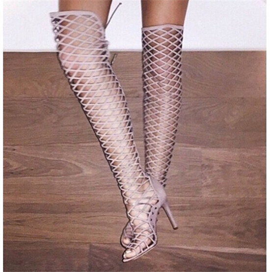 748a18f3d972 Summer Boots Sexy Strappy Cage Cut Out Lace Up Thigh High Boots Over Knee  High Gladiator Sandals Women Boots High Heels Botas