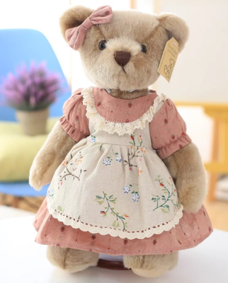 cute retro Teddy Bear Plush Toys Plush Toys Bears in Clothes Dolls with Movable Joints Special for Kids Friends gift 35cm 1pc in Stuffed Plush Animals from Toys Hobbies