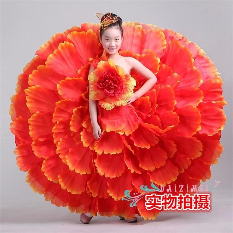 Китайский цветочный танцевальный костюм для девочек, праздничные танцевальные костюмы для девочек, китайское Новогоднее танцевальное платье для выступлений