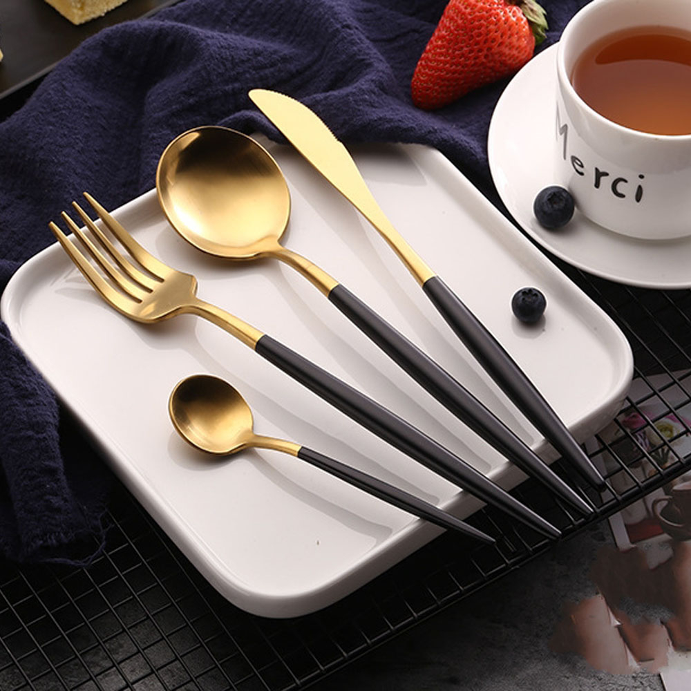 Cutlery Knife Fork Spoon Dinnerware Set Rose Gold Stainless Steel Cutlery Western Food Luxury Teaspoon Silverware Tableware Sets