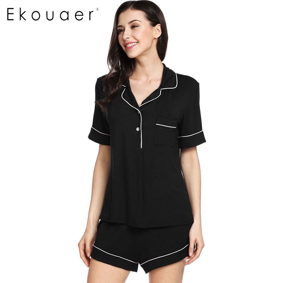 Ekouaer Solid Turn-down Collar Lady Nightgown Home Clothes Women Summer Casual Short Sleeve Sleepwear Pajamas Sets