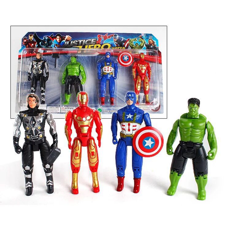 4pcs 14CM Superhero Avengers Iron Man Hulk Captain America Superman Batman Action Figures Gift Collection Of Children's Toys