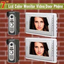 2-Camera 2-Monitor 7 inch monitor video door phone intercom doorbell Night Vision camera wired video doorphone interphone system