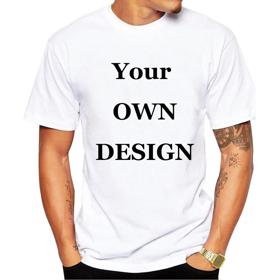 Your OWN Design Brand Logo/Picture White Custom t shirt ...
