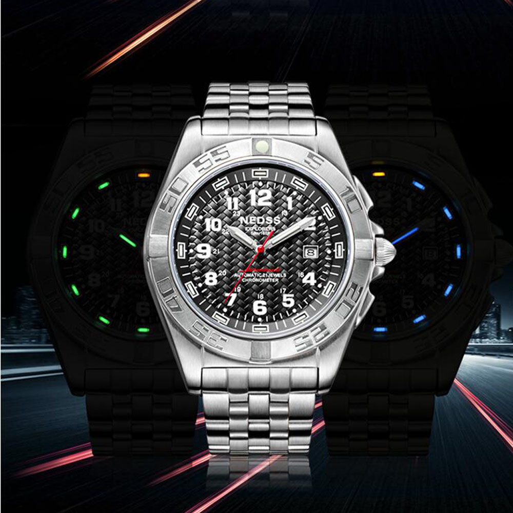 Top brand NEDSS sports watches luminous system mens fine steel sapphire mirror mens sport automatic mechanical watch wristwatch