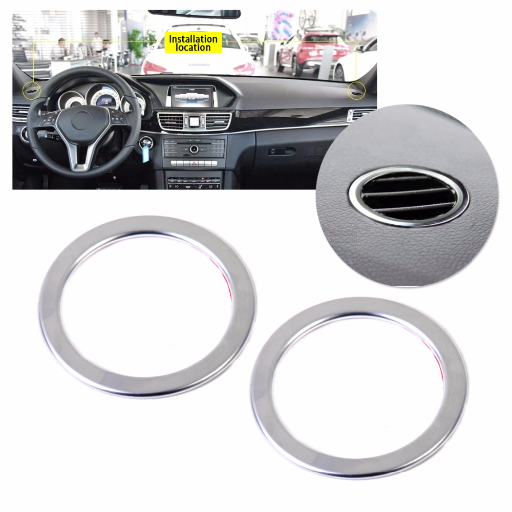 beler 2pcs ABS Chrome Interior AC Air Vent Outlet Trim Cover Ring for <font><b>Mercedes</b></font> Benz B Class <font><b>W246</b></font> B180 <font><b>B200</b></font> 2012 2013 2014 2015 image