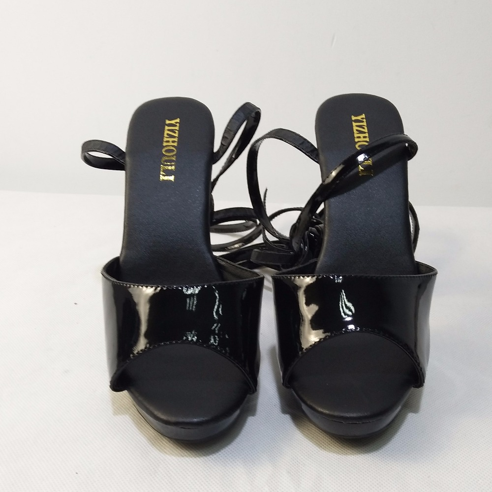 Photo De Haute Performance 13 Chaussures ultra Noir Talon mariée sandales Cm Pantoufle Sandales Populaire Mariage UwPEOtqq