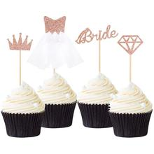 4/12pcs Rose Gold Glitter Bride To Be Cupcake Toppers Diamond Crown 3D Wedding Dress Cake for Bridal Shower Supplies