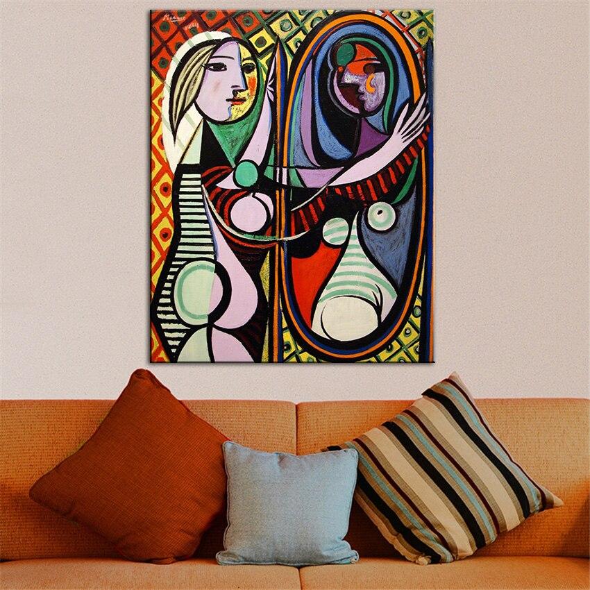 Большие размеры принт картина маслом для стен Pic кубизм Книги по искусству Девушка перед зеркалом Estate подписаны и пронумерованы абстрактны... ...