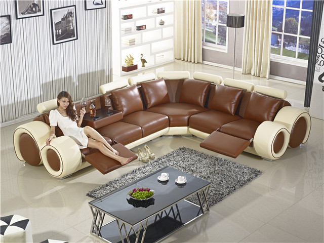 New Design Large Size L Shaped Recliner Sofa Made In Top Grain Leather Corner