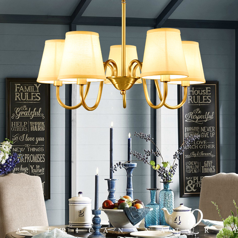 Full copper European chandelier living room lights American restaurant lighting modern simple bedroom lights retro lighting LED modern simple european style dining room lighting american hollow carved iron bedroom pendant lights