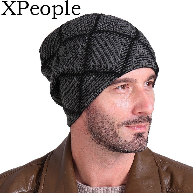 Classic Mens Knitted Skull Cap Warm Winter Hats Thick Knit Cuff Beanie Cap with Lining