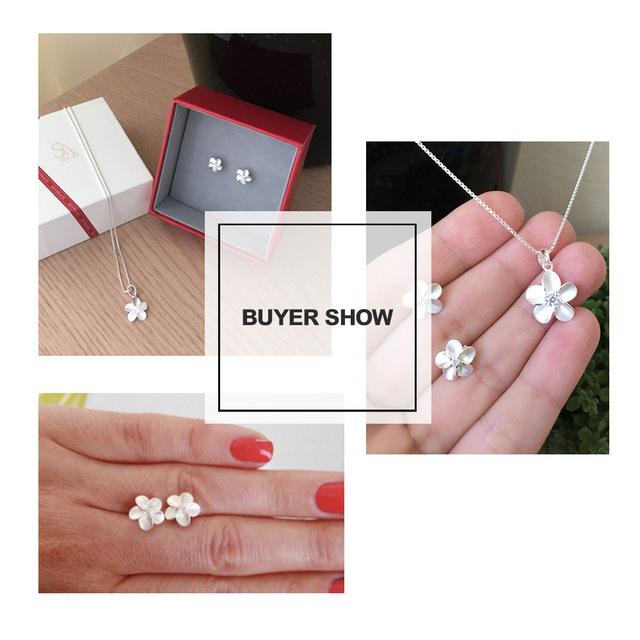 SA SILVERAGE 925 Sterling Silver Stud Earrings Trendy AAA Zirconia Earring Fashion Jewelry For Women Flower Earring Female