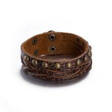 Fashion Jewelry Hologram Bracelets Movie Rock Bikers Wide Woven Rivet Leather Bracelets Men Casual Vintage Punk Bracelet Gift