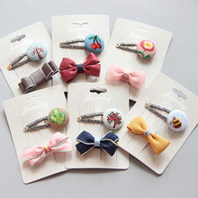 2-3pcs/set Creative handmade hairpins Cute kids Hairgrips Girls Hair Clips Accessories Baby Elastic Bands Headwear J23