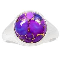 Genuine PURPLE TURQUOISE Ring 925 Sterling Silver Jewelry,USA Size :8.75, MHBAR3705