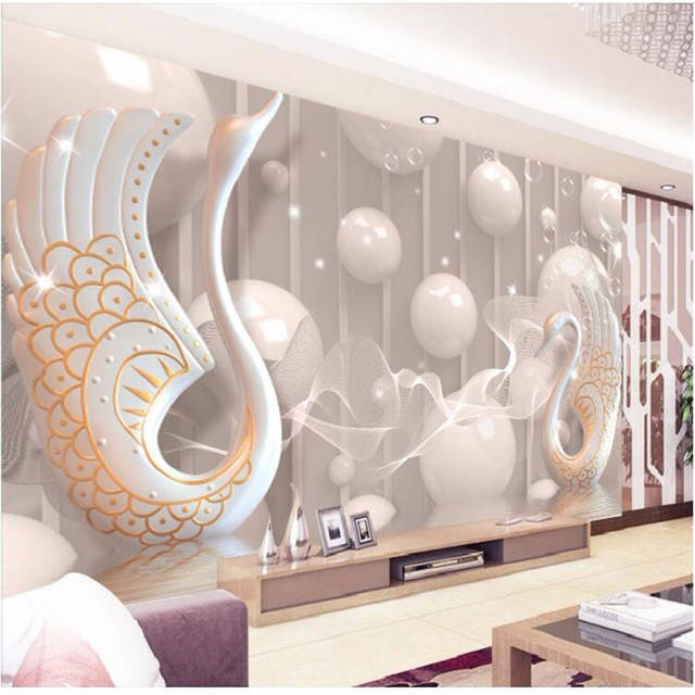 Beibehang European White Swan Murals 3d Living Room Bedroom Tv Background Striped Abstract Wall Painting Wallpaper For Walls 3 D
