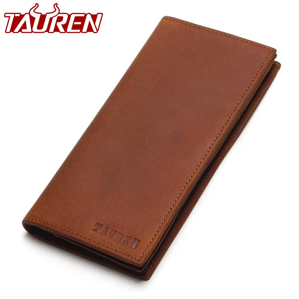 TAUREN First Layer Cow Genuine Leather Wallet Men Bifold Zipper Crazy Horse Leather Clutches Retro Long Brand Hand Bag first layer genuine leather crazy horse pen bag zipper retro portable simple pencil case with hand tail traveler school supplies