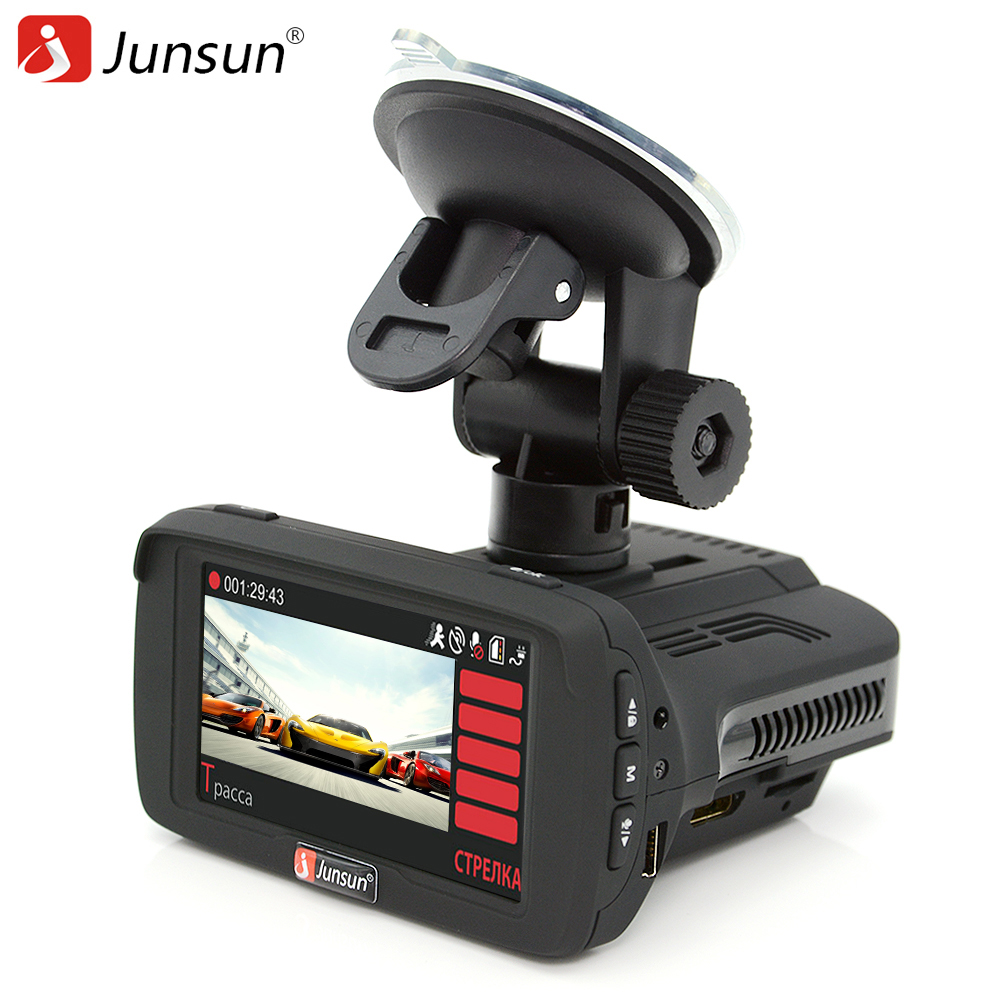 Junsun Car DVR Camera Registrar Radar Detector GPS For Russian Ambarella Anti Radar Speedcam FHD 1080P